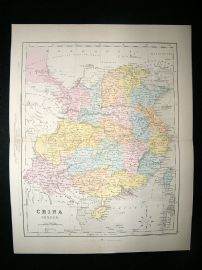 China: C1870 Antique Map, China Proper. Hand Col. Archer